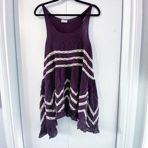 Free People Purple Voile and Lace Trapeze Dress